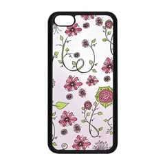 Pink Whimsical Flowers On Pink Apple Iphone 5c Seamless Case (black)