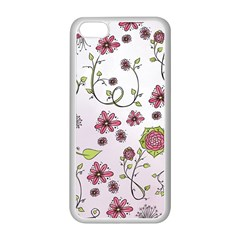 Pink whimsical flowers on pink Apple iPhone 5C Seamless Case (White)