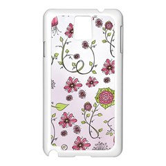 Pink Whimsical Flowers On Pink Samsung Galaxy Note 3 N9005 Case (white)