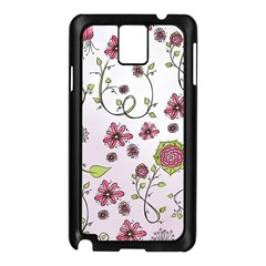 Pink whimsical flowers on pink Samsung Galaxy Note 3 N9005 Case (Black)