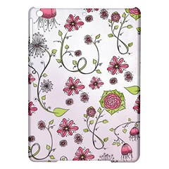 Pink whimsical flowers on pink Apple iPad Air Hardshell Case