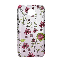 Pink whimsical flowers on pink HTC Desire 601 Hardshell Case