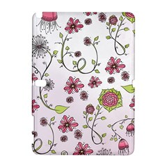 Pink Whimsical Flowers On Pink Samsung Galaxy Note 10 1 (p600) Hardshell Case