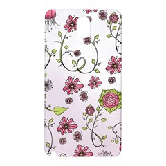Pink Whimsical Flowers On Pink Samsung Galaxy Note 3 N9005 Hardshell Back Case