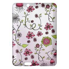 Pink whimsical flowers on pink Kindle Fire HDX 7  Hardshell Case
