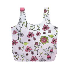 Pink whimsical flowers on pink Reusable Bag (M)