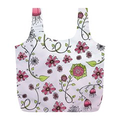 Pink Whimsical Flowers On Pink Reusable Bag (l)