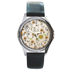 Yellow Whimsical Flowers  Round Leather Watch (silver Rim)