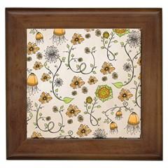 Yellow Whimsical Flowers  Framed Ceramic Tile