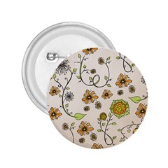 Yellow Whimsical Flowers  2.25  Button