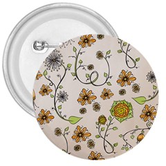 Yellow Whimsical Flowers  3  Button