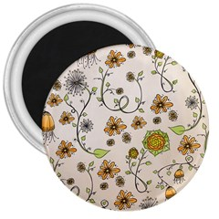 Yellow Whimsical Flowers  3  Button Magnet