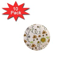 Yellow Whimsical Flowers  1  Mini Button Magnet (10 pack)