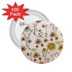 Yellow Whimsical Flowers  2.25  Button (100 pack)