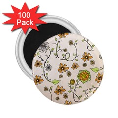 Yellow Whimsical Flowers  2 25  Button Magnet (100 Pack)