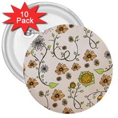 Yellow Whimsical Flowers  3  Button (10 Pack)