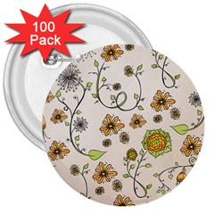 Yellow Whimsical Flowers  3  Button (100 Pack)