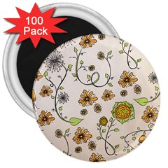 Yellow Whimsical Flowers  3  Button Magnet (100 pack)