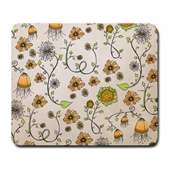 Yellow Whimsical Flowers  Large Mouse Pad (Rectangle)