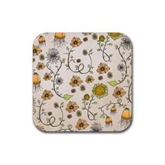 Yellow Whimsical Flowers  Drink Coasters 4 Pack (Square)