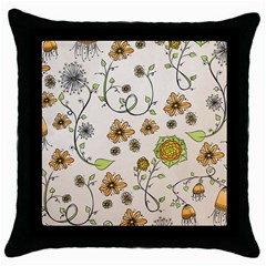 Yellow Whimsical Flowers  Black Throw Pillow Case