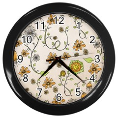 Yellow Whimsical Flowers  Wall Clock (Black)