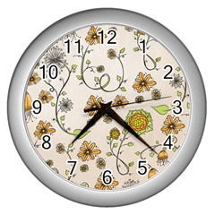 Yellow Whimsical Flowers  Wall Clock (Silver)