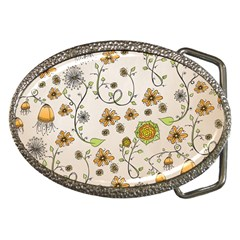 Yellow Whimsical Flowers  Belt Buckle (Oval)