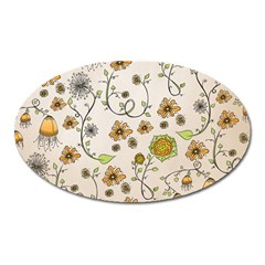 Yellow Whimsical Flowers  Magnet (Oval)
