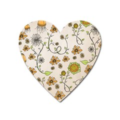 Yellow Whimsical Flowers  Magnet (heart)