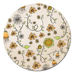 Yellow Whimsical Flowers  Magnet 5  (Round)