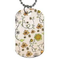 Yellow Whimsical Flowers  Dog Tag (One Sided)