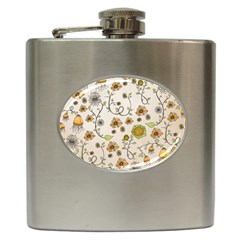 Yellow Whimsical Flowers  Hip Flask