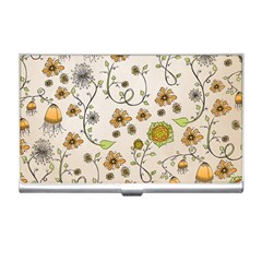 Yellow Whimsical Flowers  Business Card Holder