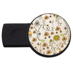 Yellow Whimsical Flowers  1GB USB Flash Drive (Round)