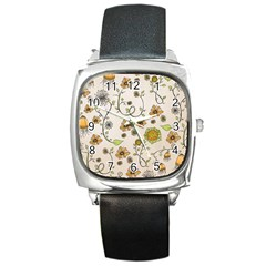 Yellow Whimsical Flowers  Square Leather Watch