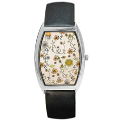 Yellow Whimsical Flowers  Tonneau Leather Watch