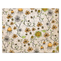 Yellow Whimsical Flowers  Jigsaw Puzzle (Rectangle)