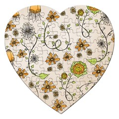 Yellow Whimsical Flowers  Jigsaw Puzzle (heart)