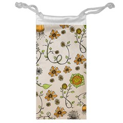 Yellow Whimsical Flowers  Jewelry Bag