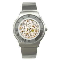 Yellow Whimsical Flowers  Stainless Steel Watch (Slim)