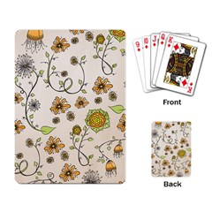 Yellow Whimsical Flowers  Playing Cards Single Design