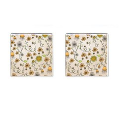Yellow Whimsical Flowers  Cufflinks (Square)