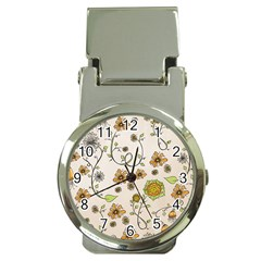 Yellow Whimsical Flowers  Money Clip With Watch