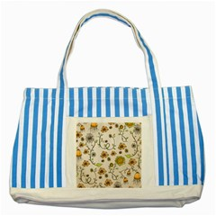 Yellow Whimsical Flowers  Blue Striped Tote Bag