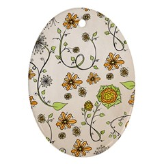 Yellow Whimsical Flowers  Oval Ornament (Two Sides)