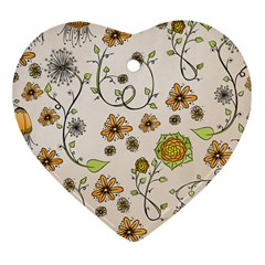 Yellow Whimsical Flowers  Heart Ornament (Two Sides)