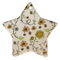 Yellow Whimsical Flowers  Star Ornament (Two Sides)