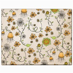 Yellow Whimsical Flowers  Canvas 8  x 10  (Unframed)