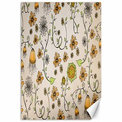 Yellow Whimsical Flowers  Canvas 12  x 18  (Unframed)